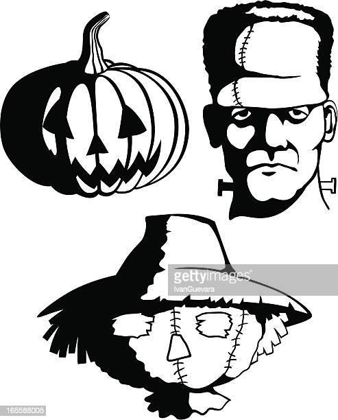 halloween monsters in shadow - frankenstein stock illustrations