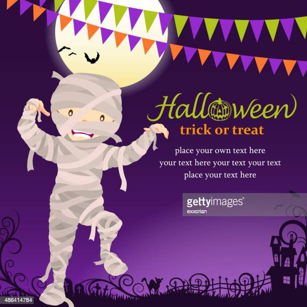 halloween mummy party - period costume stock illustrations