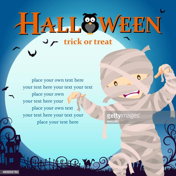 halloween mummy trick or treat - traditional clothing stock illustrations