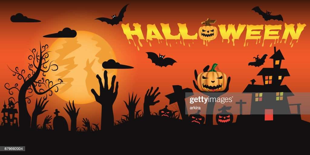 Halloween night background with castle and scary pumpkins and zombie hands coming up out of the ground in front of a full moon. vector illustration.