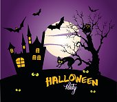 Halloween night background with full Moon and black cat.