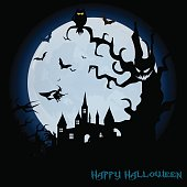 Halloween night background with haunted house, tree, pumpkin and bats. Vector.