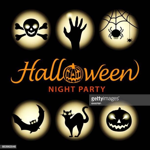 halloween night elements - pumpkin cats stock illustrations