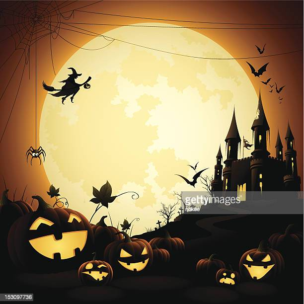 illustrations, cliparts, dessins animés et icônes de halloween avec château hanté de nuit - horreur