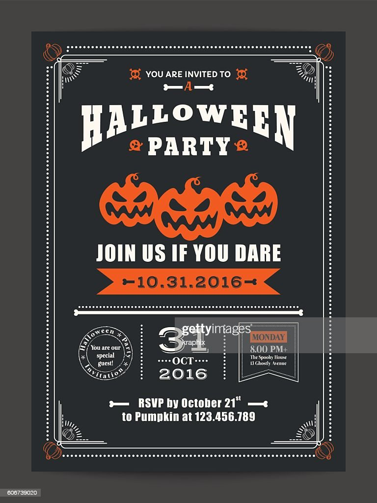 halloween night party with scary pumpkins for card poster flyer