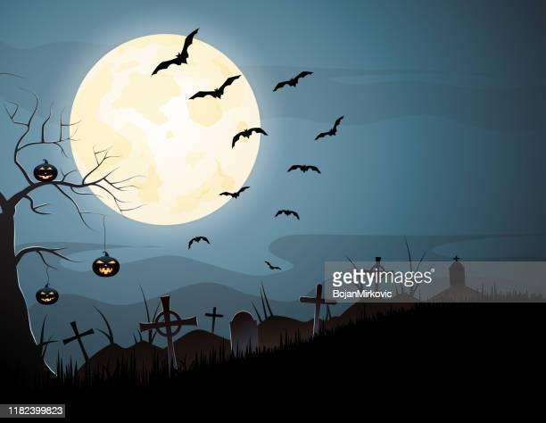 カボチャと飛ぶコウモリとハロウィーンの夜不気味な背景。ベクトル - 墓地点のイラスト素材/クリップアート素材/マンガ素材/アイコン素材