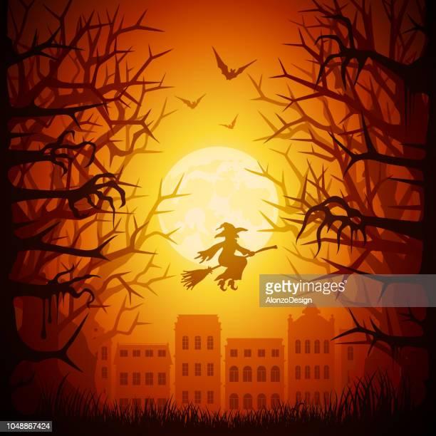ilustraciones, imágenes clip art, dibujos animados e iconos de stock de ciudad de la noche de halloween - bruja