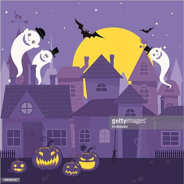 halloween night town - halloween cats stock illustrations