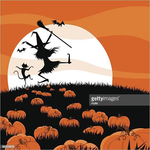 halloween night - one animal stock illustrations