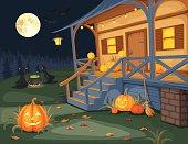 Halloween night. Vector illustration.