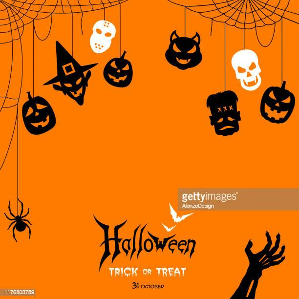 halloween-nacht mit etiketten - halloween stock-grafiken, -clipart, -cartoons und -symbole