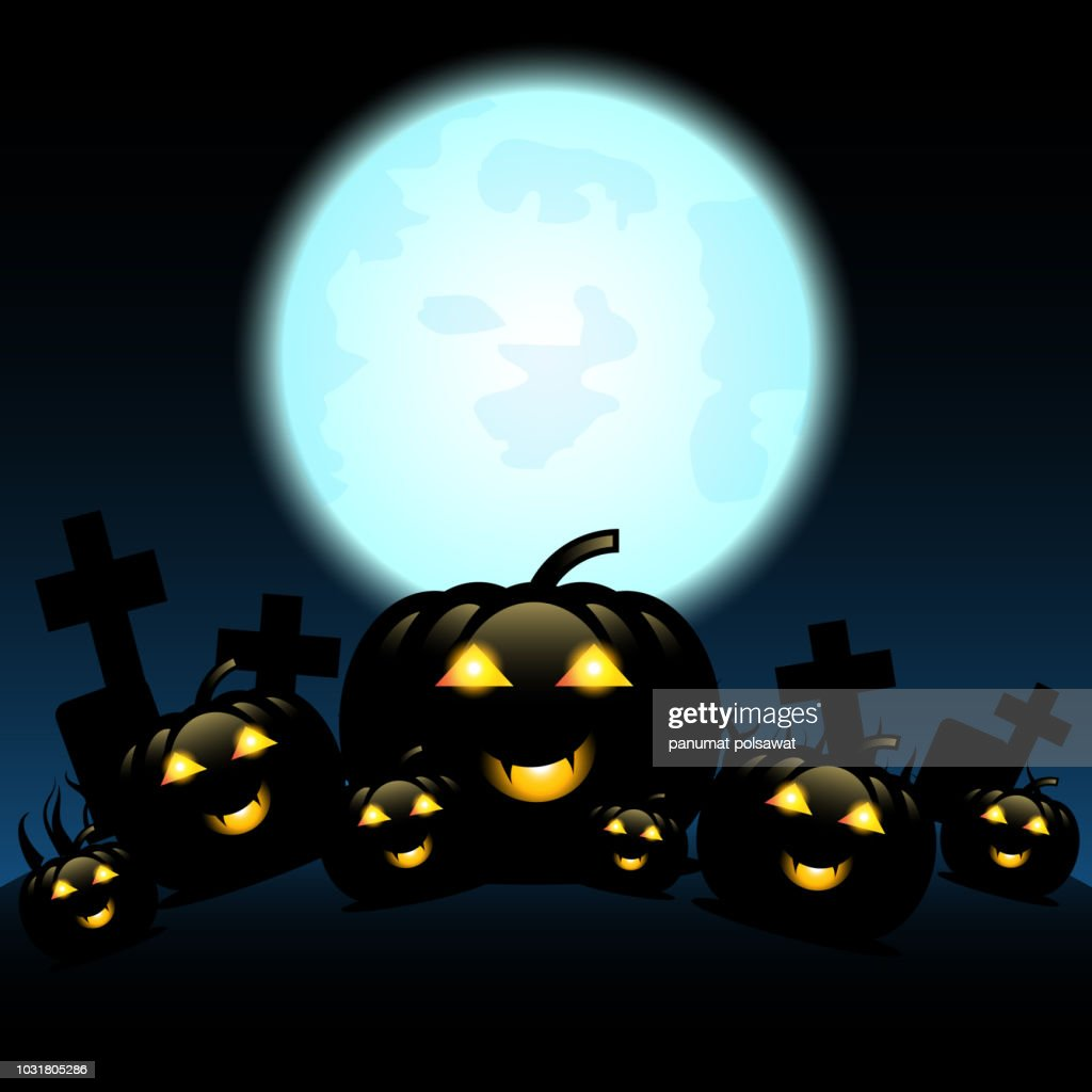 Halloween night with pumpkins and blue Moon, Vector, EP10, illustration.