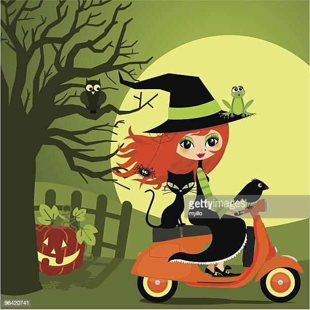 halloween on vespa - vespa stock illustrations, clip art, cartoons, & icons
