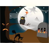 Hallowe'en or Halloween Scene