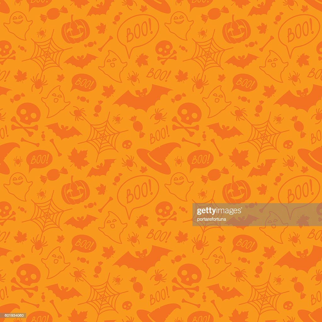 Halloween orange festive seamless pattern.
