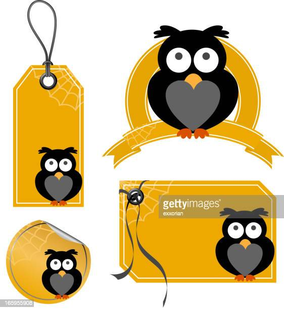 halloween owl price tag - labeling stock illustrations, clip art, cartoons, & icons