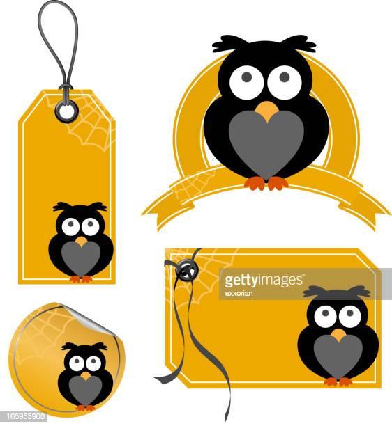 ilustrações, clipart, desenhos animados e ícones de halloween coruja etiqueta de preço - labeling