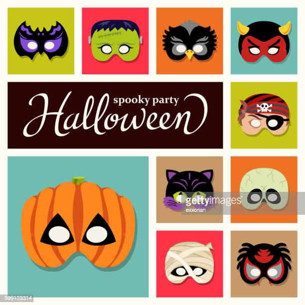 halloween paper masks - period costume stock illustrations