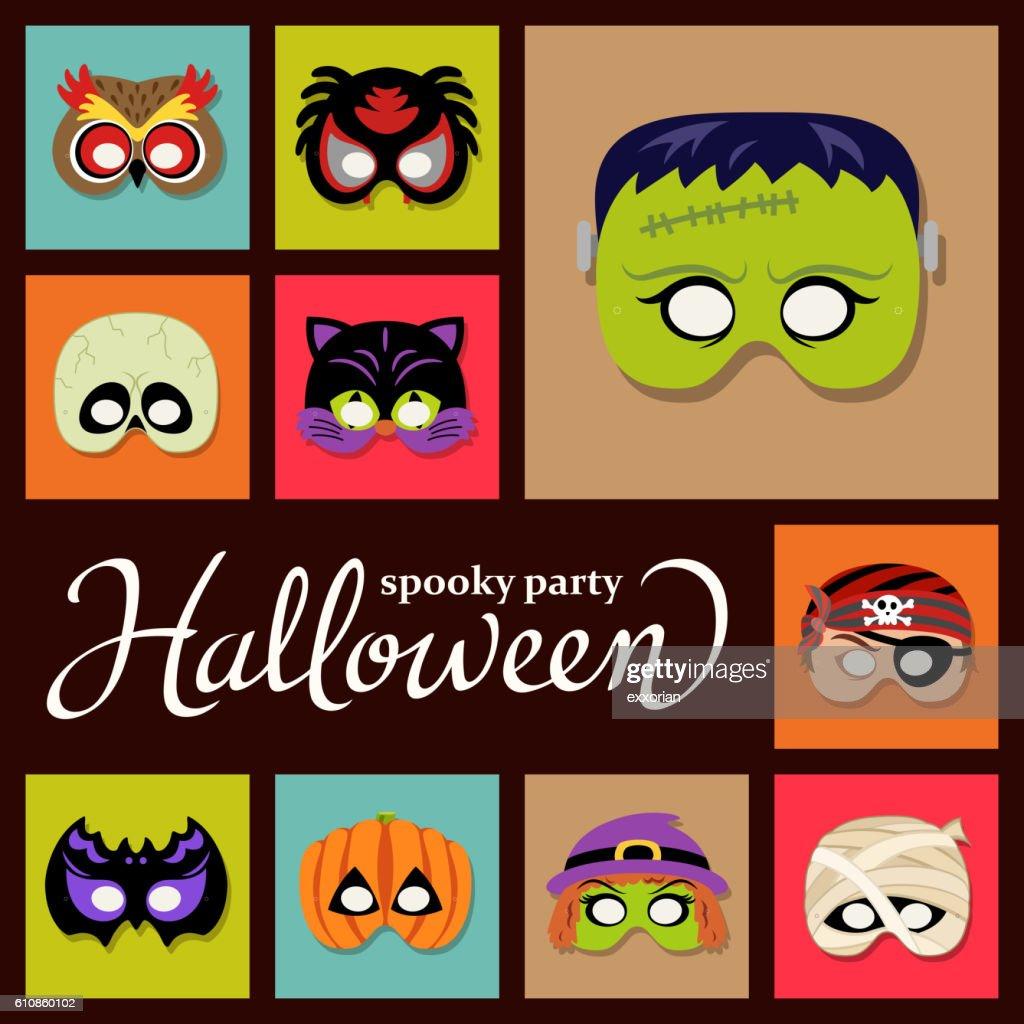 Halloween Paper Masks : Stock Illustration