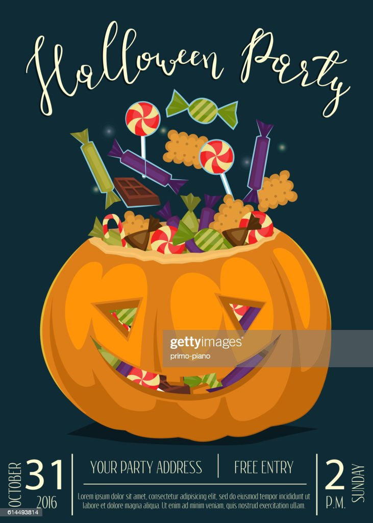 halloween party banner with scary pumpkin vector art
