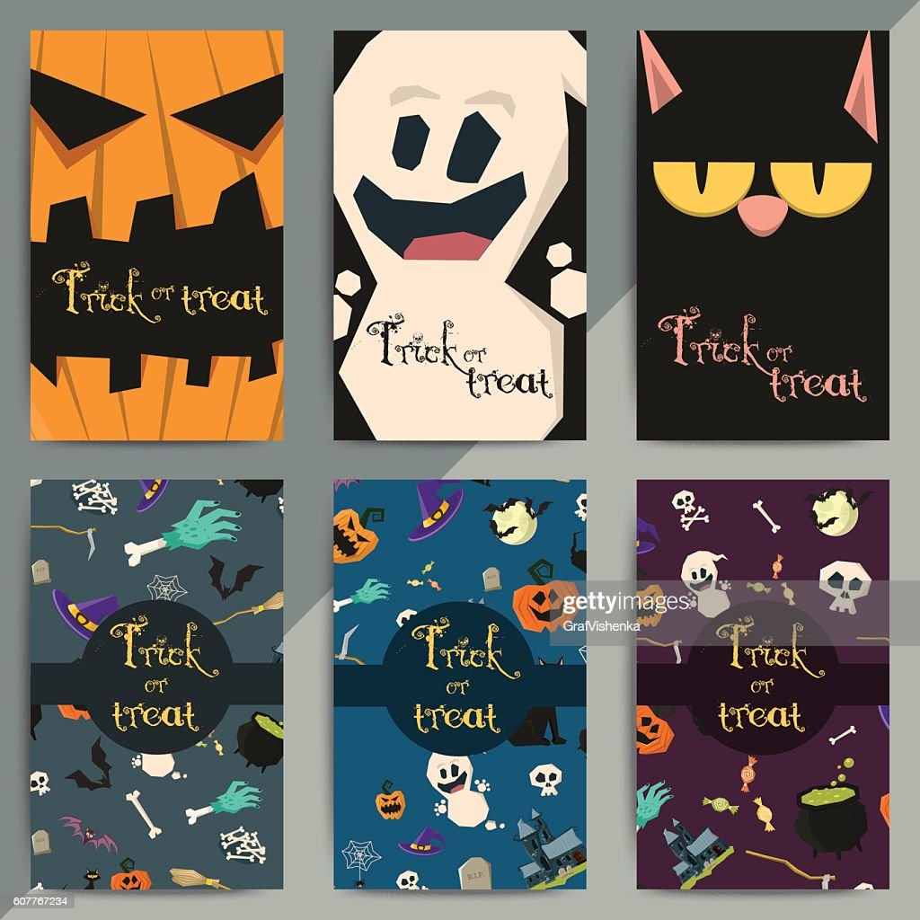 Halloween party cartoon greeting cards. All hallow eve invitation