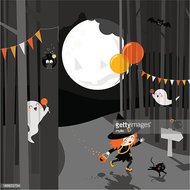 Halloween party cartoon illustration