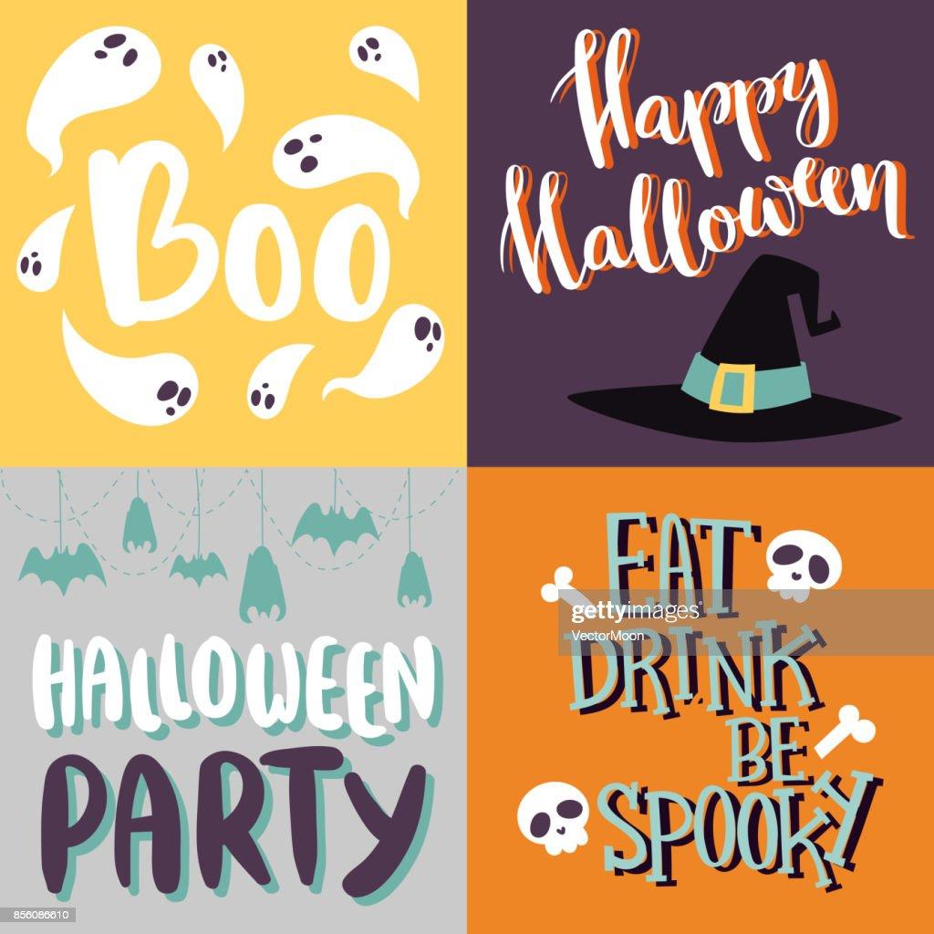 Halloween Party Celebration Invitation Cards Vector