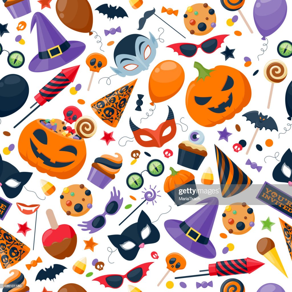 Halloween party colorful seamless pattern vector illustration