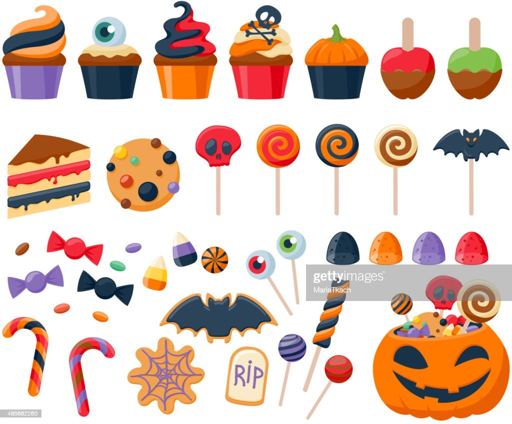 Halloween party colorful sweets  icons set vector illustration