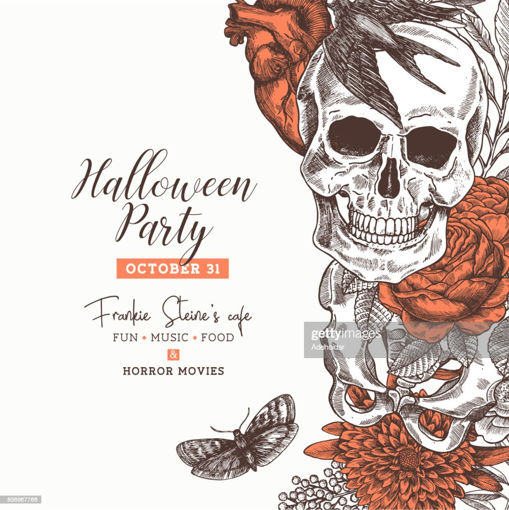 Halloween party design template. Vintage floral anatomy background. Vector illustration
