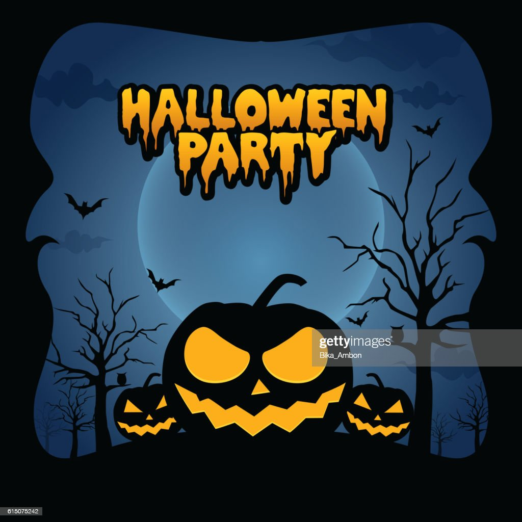 Halloween Party Design template with pumpkin vector illustration