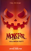 Halloween Party Design template, with scary pumpkin lantern and place for text