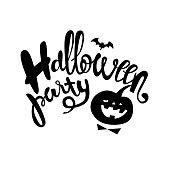Halloween party hand-drawn lettering design for poster, card or invitation