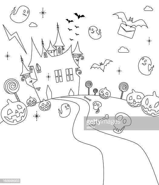Halloween Party, Haunted House, Outline