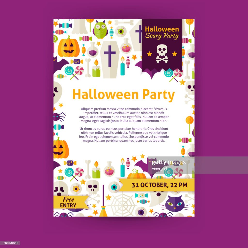 Halloween Party Holiday Vector Invitation Template Flyer