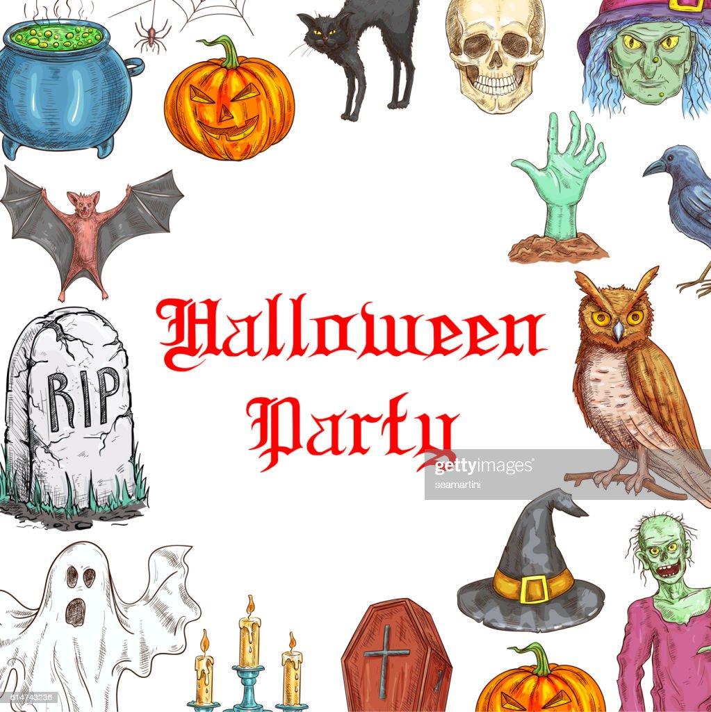 Halloween Party Invitation Card Horror Elements Vector Art | Getty ...