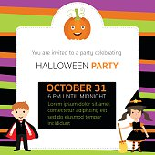 Halloween party invitation cards witch,vampire characters vector