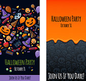 Halloween party invitation poster card design template