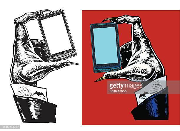 ilustraciones, imágenes clip art, dibujos animados e iconos de stock de halloween party invitación teléfono inteligente y dracula de la mano - vampiro