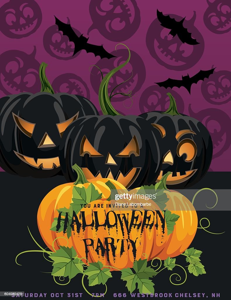 halloween party invitation template vector art getty images
