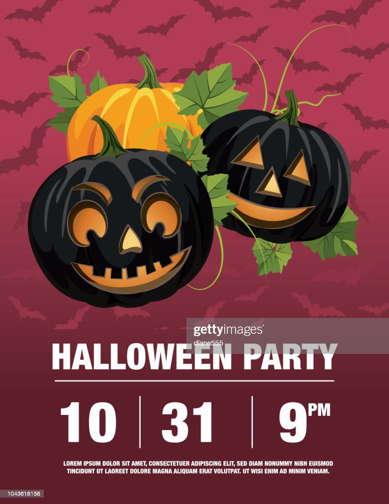 halloween party invitation template with jack o lanterns vector art