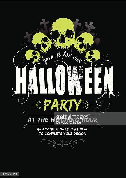 illustrations, cliparts, dessins animés et icônes de la fête d'halloween invitez v2 - horreur