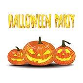 Halloween party. Isolated pumpkin.