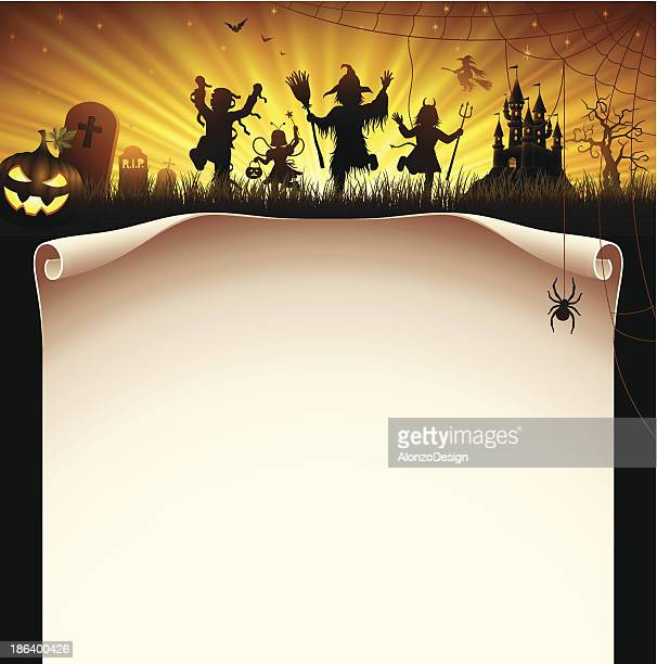 halloween party letter head with demons dancing around - stage costume stock illustrations
