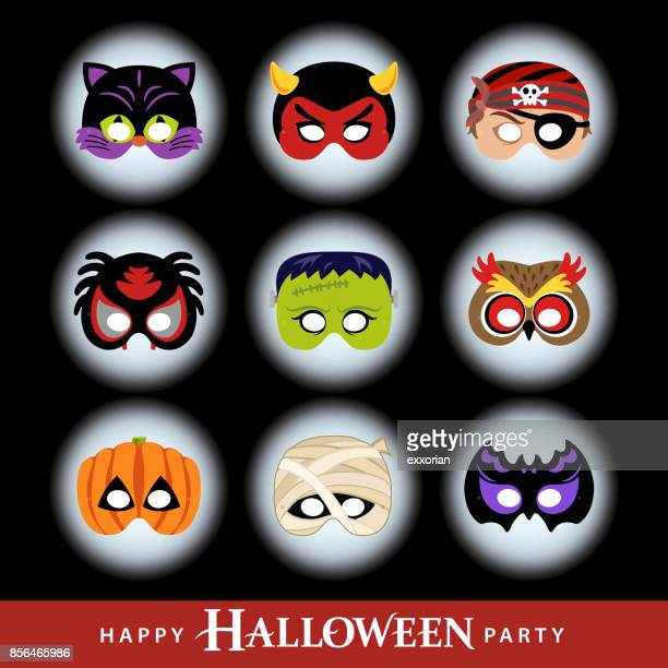 halloween party masks - traditional clothing stock illustrations