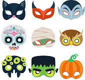 Halloween party masks vector illustration.