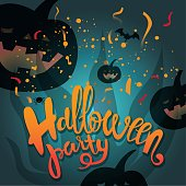 Halloween party poster or card design
