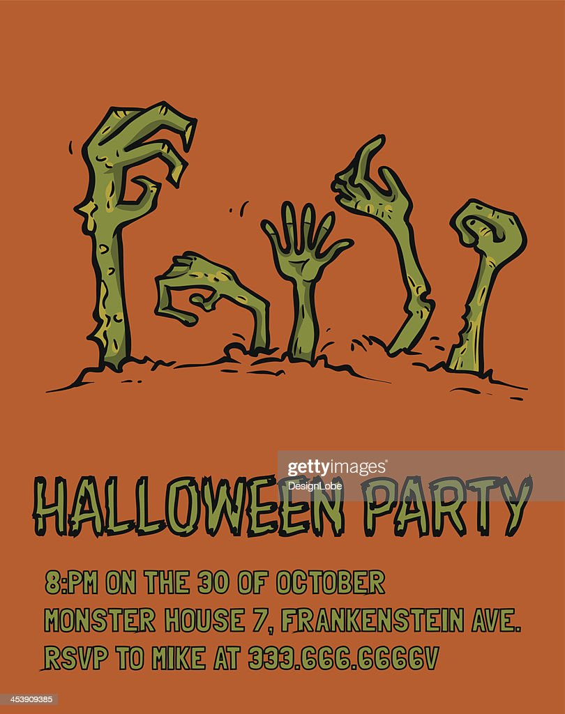 halloween party poster template zombie hands vector art getty images