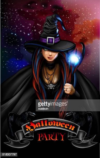 ilustraciones, imágenes clip art, dibujos animados e iconos de stock de halloween party poster - bruja