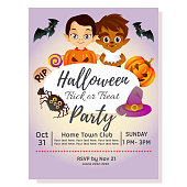 halloween party poster with little pumpkin costume